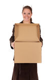 Businesswoman Postal  Package Stock Image