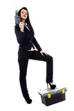 Businesswoman with power tools Royalty Free Stock Photos
