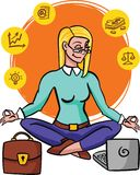 Businesswoman practicing mindfulness meditation. she is clearing her mind, releasing stressful thoughts and expressing her. Potential. yoga and self vector illustration