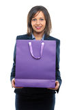 Businesswoman with present Stock Images