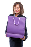 Businesswoman with present Royalty Free Stock Photography