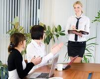 Businesswoman with presentation Stock Photos