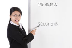 Businesswoman in presentation. A business woman pointing at the white board in her presentation. There is words in the white board, you can replaced it with any Royalty Free Stock Photos