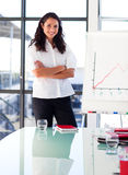 Businesswoman in a presentation with crosse Stock Image