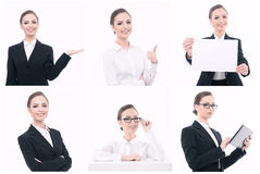 Businesswoman during presentation with multiple Stock Image