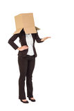 Businesswoman presenting with box over head Royalty Free Stock Photo