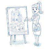 Businesswoman presenting business centre royalty free illustration