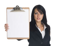 Businesswoman - presenting clipboard Royalty Free Stock Photos