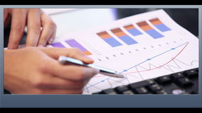 Businesswoman presenting clips of various business scenes stock video