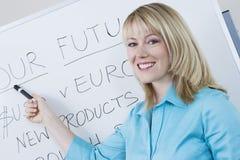 Businesswoman Presenting Company目标 库存照片