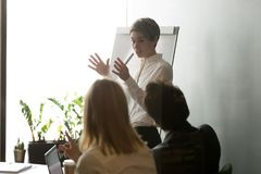 Businesswoman presenting company strategy on flipchart. Businesswoman explaining company business strategy to colleagues, giving presentation on flipchart Royalty Free Stock Images