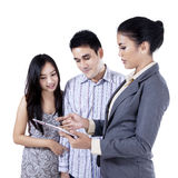 Businesswoman presenting her project to her client 1 Stock Images