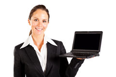 Businesswoman presenting laptop Stock Photos