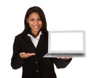 Businesswoman presenting laptop Stock Photography
