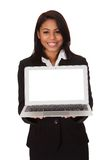 Businesswoman presenting laptop Royalty Free Stock Photography