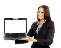 Businesswoman presenting a laptop Royalty Free Stock Photography