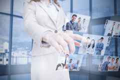 Businesswoman presenting partners pictures royalty free stock images