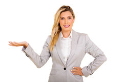 Businesswoman presenting Stock Image