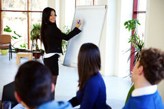 Businesswoman presenting something on flipchart. Happy businesswoman presenting something on flipchart royalty free stock photo