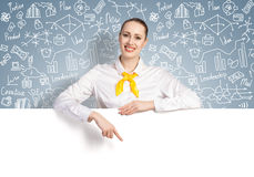 Businesswoman presenting something Stock Images