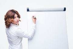 Businesswoman presenting strategy on flipchart Royalty Free Stock Images