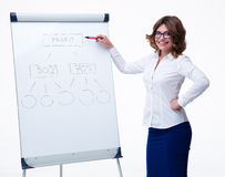 Businesswoman presenting strategy on flipchart. Happy businesswoman in glasses presenting strategy on flipchart isolated on a white background. Looking at camera Stock Photo