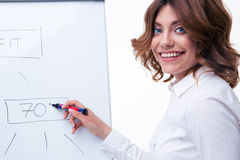 Businesswoman presenting strategy on flipchart. Smiling businesswoman in glasses presenting strategy on flipchart isolated on a white background. Looking at Royalty Free Stock Photos
