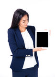 Businesswoman presenting tablet computer Stock Images