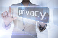 Businesswoman presenting the word privacy Royalty Free Stock Photo