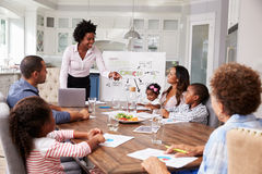 Businesswoman presents meeting to a family in their kitchen Royalty Free Stock Photo