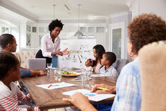 Businesswoman presents meeting to a family in their kitchen Stock Photos