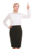 Businesswoman pressing button pointing isolated Stock Photos
