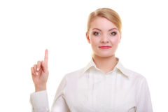 Businesswoman pressing button pointing isolated Royalty Free Stock Image