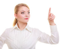Businesswoman pressing button pointing isolated Stock Image
