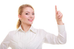 Businesswoman pressing button pointing isolated Royalty Free Stock Images