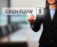 Businesswoman pressing Cash Flow button on virtual screens Stock Images