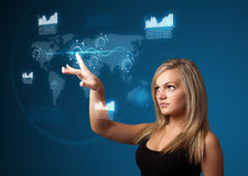 Businesswoman pressing high tech type of modern buttons stock image