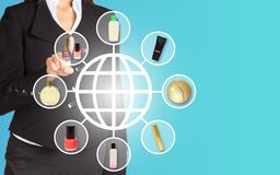 Businesswoman pressing on holographic screen Royalty Free Stock Photos