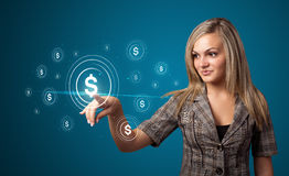 Businesswoman pressing modern business type of buttons Stock Images