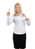 Businesswoman pressing the touchscreen button Royalty Free Stock Image