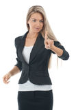 Businesswoman pressing the touchscreen button Royalty Free Stock Photography