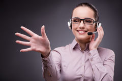 The businesswoman pressing virtual button in business concept Royalty Free Stock Photo