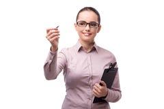 The businesswoman pressing virtual button isolated on white Stock Photo