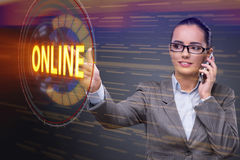 The businesswoman pressing virtual button online Royalty Free Stock Photo