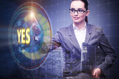 The businesswoman pressing virtual button yes Royalty Free Stock Image