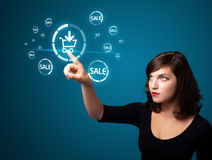 Businesswoman pressing virtual promotion and shipping type of ic Royalty Free Stock Photos
