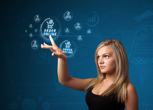 Businesswoman pressing virtual promotion and shipping type of icons royalty free stock image