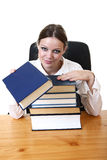 Businesswoman. Pretty businesswoman with book isolated on white Royalty Free Stock Photo