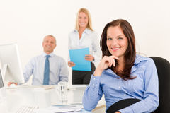 Businesswoman pretty smile sit in office colleague Royalty Free Stock Photography