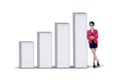 Businesswoman and profit bar chart - isolated Royalty Free Stock Photography